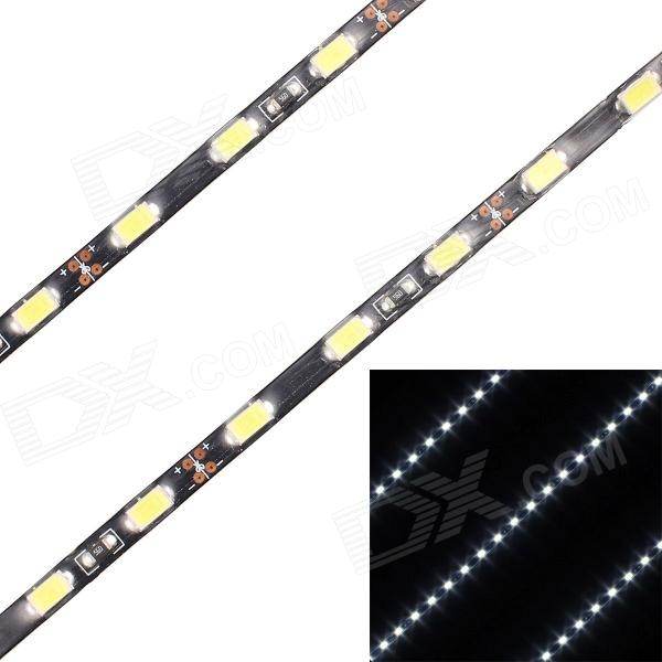 13.5W 1080lm 45-SMD 5630 Cold White Light Car Decoration Light Strip5630 SMD Strips<br>MaterialFPCForm  ColorWhiteQuantity2Rated VoltageOthersEmitter TypeLEDTotal Emitters45Color BINWhiteColor Temperature6500Power AdapterWithout Power AdapterOther FeaturesSuperPacking List2 x Light strips<br>