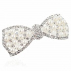 MaDouGongZhu F029 Spring Clip voller Strass Weiß Perlebowknot Hair Ornament - Weiß
