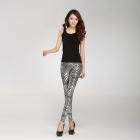 LC79206-1 Fashionable Women's Metallic Scale Veins Legging - Silver (Free Size)