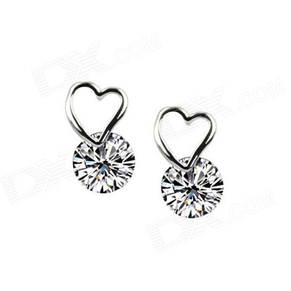 eQute ESIW106C1 925 Silver Ladies Fashionable Zircon Studs Earrings - White + Silver (Pair) equte epew22h1 fashionable vintage turquoise dangle earrings green silver pair