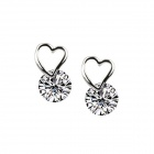 eQute ESIW106C1 925 Silver Ladies Fashionable Zircon Studs Earrings - White + Silver (Pair)