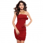 LC2655 Fashionable Women's Pleated Flaming Mini Dress w/ Bows Embellishment - Red (Free Size)