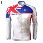 Spakct Polyester Long Sleeves Cycling Riding Jersey for Men - White + Blue + Red (L)