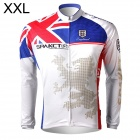 Spakct Men's Stylish Long Sleeve Dacron Cycling Jersey - White + Blue + Red (XXL)