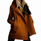Double-Breasted Lapel Woolen Coat for Women - Yellow (Size-L)