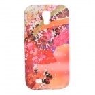Sakura Pattern Protective Silicone Back Case for Samsung Galaxy S4 i9500 - Red