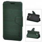 Wood Grain Style Protective PU Leather Case for HTC M7 - Dark Green + Black