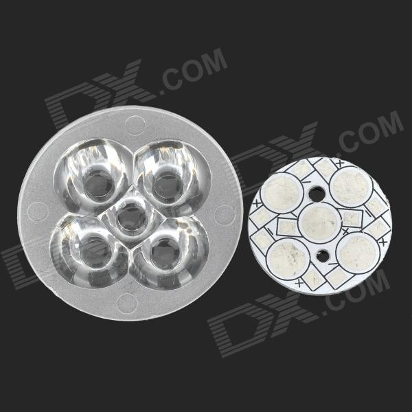 43mm 5-LED Acrylic Lens w/ 5W Aluminum Base Board for LED Bulb- Silver + White