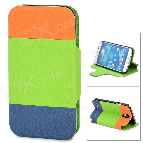 A1ETT Protective PU Leather Case for Samsung Galaxy S4 i9500 - Green + Orange + Blue смартфон samsung galaxy j7 neo black sm j701f