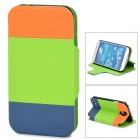 A1ETT Protective PU Leather Case for Samsung Galaxy S4 i9500 - Green + Orange + Blue
