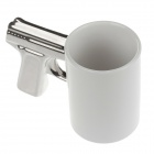 Cool Gun Style Ceramic Whiteware Mugg Cup - Vit + Silver (400mL)