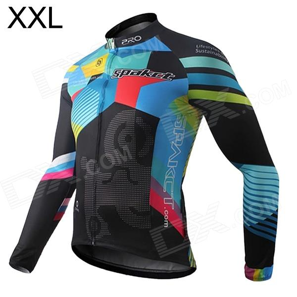 Spakct S13C21 Polyester Fiber Long Sleeves Riding Cycling Jersey for Men - Black + Blue + Red (XXL) spakct cool006 knuckle riding cycling gloves black white red xl 21cm