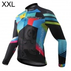 Spakct S13C21 Polyester Fiber Long Sleeves Riding Cycling Jersey for Men - Black + Blue + Red (XXL)