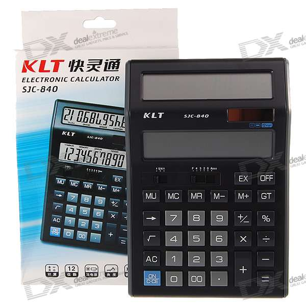 "KLT 4.2"" Dual LCD 12-Digit Desktop Calculator (Solar Powered/1*AA)"
