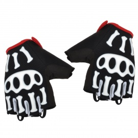 Spakct Cool006 Outdoor Cycling Half Finger Gloves w/ Protective Pad - Black + White + Red (M)