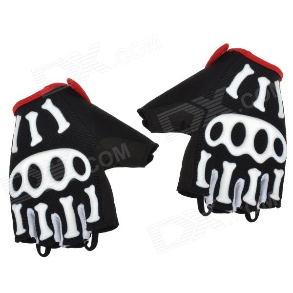 Spakct Cool006 Knuckle Riding Cycling Gloves - Black + White + Red (XL / 21cm) spakct s13c02 fashion cycling round collar polyester short sleeve coat black red size xxxl
