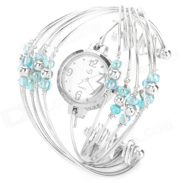ZEA-SB-001 Fashion Bracelet Style Cross Beads Watch - Silver + Blue (1 x SRG26SN) ручка cross calais blue silver at0112 3