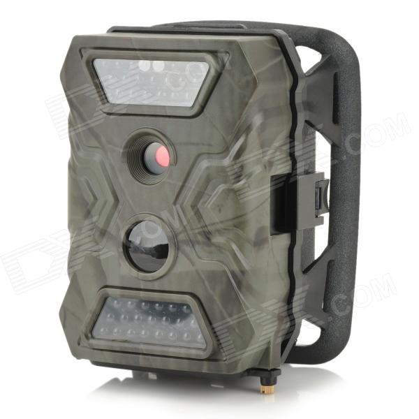 S-105 2.0 LCD 5.0 MP Waterproof IR Night Vision Outdoor Hunting Camera - Camouflage GreySport Cameras<br>ModelSForm  ColorWhiteMaterialPlasticQuantity1Image SensorCMOSAnti-ShakeYesOptical Zoom4XDigital Zoom4XBuilt-in SpeedliteYesApertureRangeF=3.0mmAperture RangeF=3.0mmWide Angle52Effective Pixels5.0ImagesJPEGStill Image Resolution12MVideoNo,AVI,TSVideo ResolutionHDVideo Frame Rate15,25,30,60,120Audio SystemDual ChannelsCycle RecordYesISONoExposure CompensationNoScene ModeOutdoorsWhite Balance ModeAutoSupports Card TypeSD,TFBuilt-in Memory / RAMNoInput InterfaceMicOutput InterfaceAV,Mini USBLCD ScreenYesScreen TypeTFTScreen Size2.0Battery TypeAABattery included or notYesLow Battery AlertsYesWater ResistantNOSupported LanguagesEnglish,Russian,Spanish,French,GermanOther FeaturesWaterproofPacking List1 x Trail Camera1 x Video Cable (150cm)1 x USB Cable (100cm)1 x Shoulder Strap (160cm)1 x English User Manual<br>
