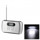 TEKNIKA RD-332 Solar Power + Hand Cranked Portable AM/FM Radio w/ USB / SD - Silver White + Black