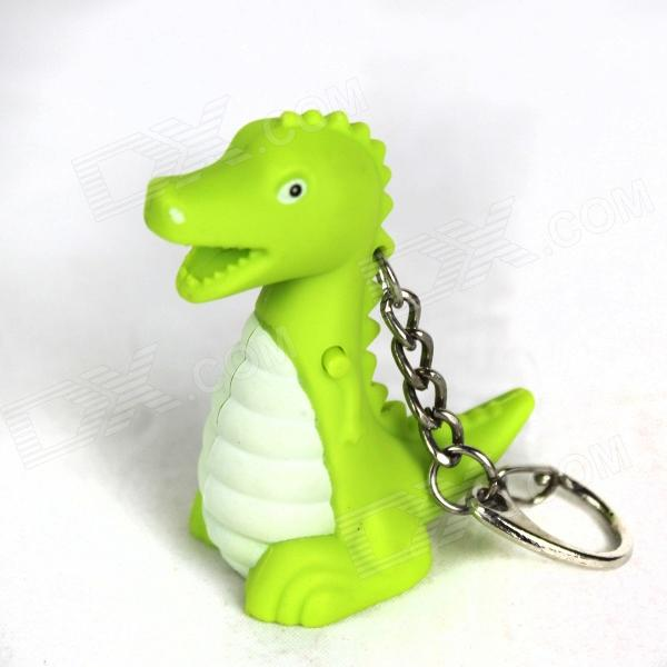 Dinosaur Style LED Purple Light Keychain w/ Sound Effect - Green + White (3 x AG10) dinosaur style led purple light keychain w sound effect green white 3 x ag10