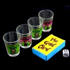 Adults Drinking Card Game w/ 4 Shot Glasses / Dice in Suit - Transparent (1~4 Person Play)