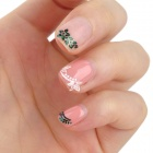 XF187194 3D Cute Pattern Decorative DIY Nail Art Sticker - White + Green (2 PCS)