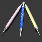 Nail Art Manicure Assistant Stainless Steel Tool Pen - Light Purple + Blue + Yellowish Green (3PCS)