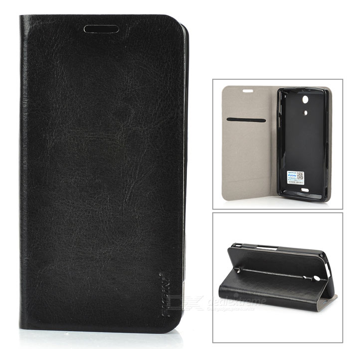 PUDINI WBM36hR Protective PU Leather + PC Case for Sony Xperia ZR M36h - Black pudini wbm36hy protective frosted pc back case for sony xperia zr m36h translucent black