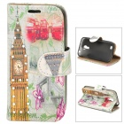 Big Ben Style Protective PU Leather Case for Samsung Galaxy S4 Mini - Multicolor