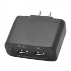 Dual-USB AC 100~240V Power Adapter - Black (2-Flat-Pin Plug)