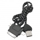 USB to 8pin Lightning / Micro 5pin / 30pin Data Cable for iPhone 5 + More - Black + White (100cm)