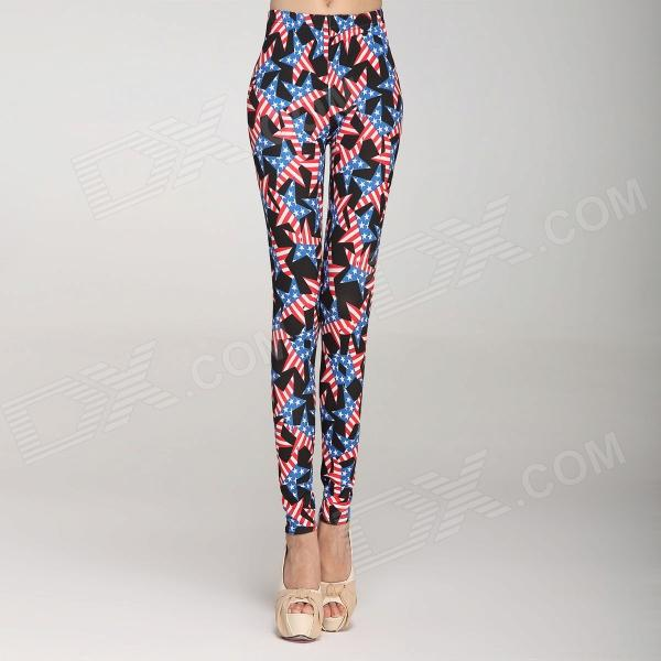 Fashionable American Style Star Pattern Women s High Waist Leggings ... 84d0ff583928f
