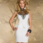 LC2936-1 Gorgeous Women's Rare Embroidered High Neck Peplum Dress - White (Size-M)