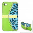 Fashion Leopard Handbag Style Protective Rhinestone + PVC Back Case for Iphone 4 / 4S - Green + Blue