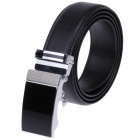GM50811 Fashionable Gird Pattern Cow Split Leather Men's Belt w/ Zinc Alloy Automatic Buckle - Black