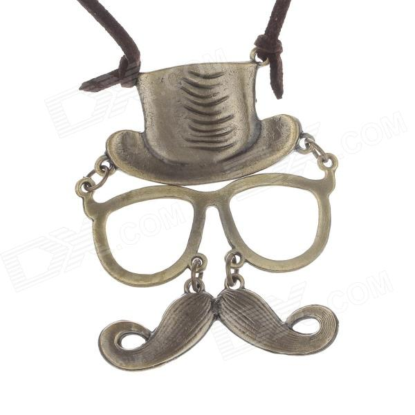 Retro Chaplin Style Mask Pendant Women's Sweater Chain - Bronze + Brown retro eiffel tower pendent sweater necklace bronze brown