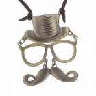 Retro Chaplin Style Mask Pendant Women's Sweater Chain - Bronze + Brown
