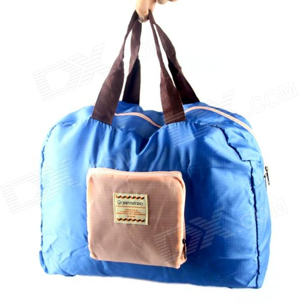 Contrast Color Multifunction Foldable Nylon Shoulder Bag / Shopping Bag - Blue + Light Pink