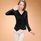 "Woman's Fashionable ""V"" Collar Pleated Long Sleeve Cotton Blouse - Black"