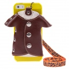 Protective Plastic Back Case + PU Leather Jacket Accessory w/ Strap for Iphone 5 - Multicolored
