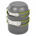 ONEROAD RT-207 Handy-Outdoor-Camping-Koch Aluminum Ware Pot + Bowl Set - Grau + Grün