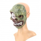 SS-01 Stylish Halloween's Makup Terrible PVC Facial Mask - White + Army Green + Brown
