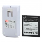 US Plugs Battery Charger + 5V 2800mAh Replacement Battery for Samsung Galaxy S4 i9500 - Black + White