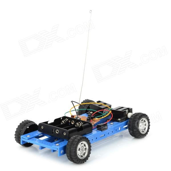 DIY Assembled 2-Channel 4-Wheel R/C Car Toy - Black + White wltoys wl r4 2 9 lcd 6 axis multi function remote controller for r c toy black 4 x aa