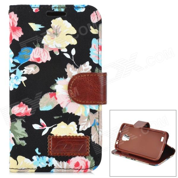 Flower Pattern PU Leather Flip Open Case for Samsung Galaxy S4 Active I9295 - Black + Brown