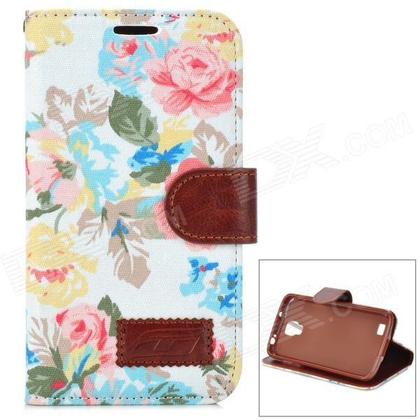 Blooming Flowers Pattern Flip-Open PU Leather Stand Case for Samsung S4 Active i9295 blooming flowers folio leather wallet stand case for iphone 6s 6 4 7 inch white background
