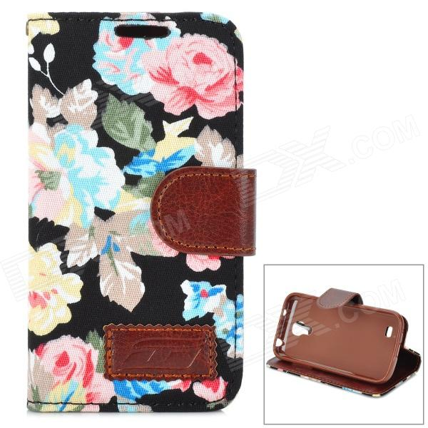 Blooming Flowers Pattern Flip-Open PU Leather Stand Case for Samsung S4 Mini / i9190 stylish flip open pu leather case w holder card slot for samsung s4 mini i9190 red