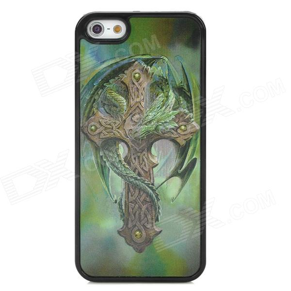 3D Dragon Cross Style Protective Back Case for Iphone 5 - Green water drop embossed pattern style protective abs back case for iphone 5 green purple