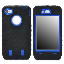 3-in-1 Cool Protective Silicone + PC Case for Iphone 4 / 4S - Black + Blue