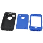 3-en-1 Cool Case + PC protectora de silicona para Iphone 4 / 4S - Negro + azul